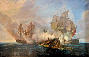 La Pomone contre les frégates HMS Alceste et Active, by Pierre Julien Gilbert