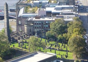 Old Calton Burying Ground in Edinburgh--split in half during the Regency era