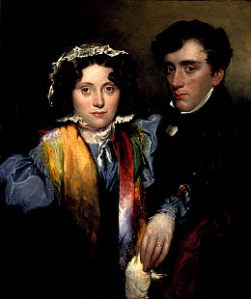 Lauder's portrait of Sophia and John--painted after she died. Note the prominence of her wedding ring, her countenance light while her surviving husband's remains in shadow.