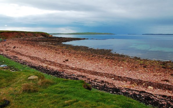 A sandstone beach near St. Margaret's Hope in Orkney – photo licensed by Ian Balcombe via Creative Commons Attribution-Share Alike 2.0 Generic license.