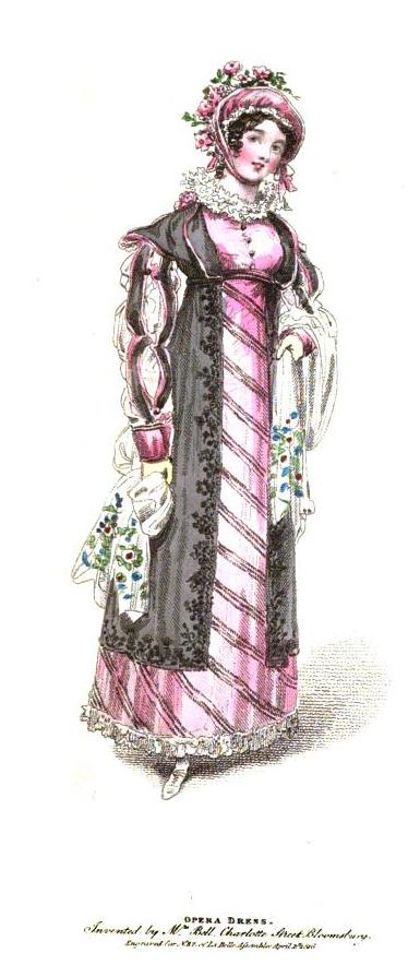Opera dress, as exhibited in the magazine, consisting of a slip of pink satin, ornamented down the front and border in black velvet bias, under a robe of black satin richly flowered in black velvet down the sides, full sleeves of black satin ornamented with pink, over a chemisette sleeve of white sarsnet. Hat of fancy spotted straw, lined with pink satin, with a superb wreath of full-blown roses. Shoes of white satin , with white kid gloves.