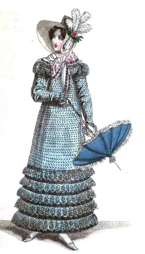 "From the Magazine's September 1818 issue: ""Parisian walking dress is a round dress of printed muslin, of a cerulean blue spotted with black, with bordered flounces of the same material to correspond, between each flounce a layer placed of black brocaded satin ribbon--bonnet of black brocaded satin ribband..parasol of barbel blue..slippers of pale blue kid and washing leather gloves."""
