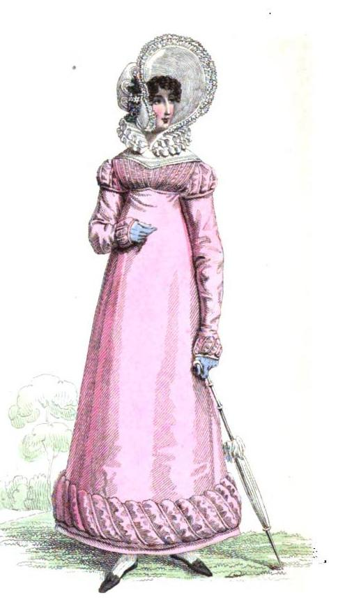 """Round dress of the new Parisian tissue silk, of a beautiful blush colour, trimmed round the border with Persian of the same hue...Bonnet of white Gras de Naples...triple ruff of fine lace, black kid slippers, tan-coloured kid gloves, and parasol of pearl gray."""
