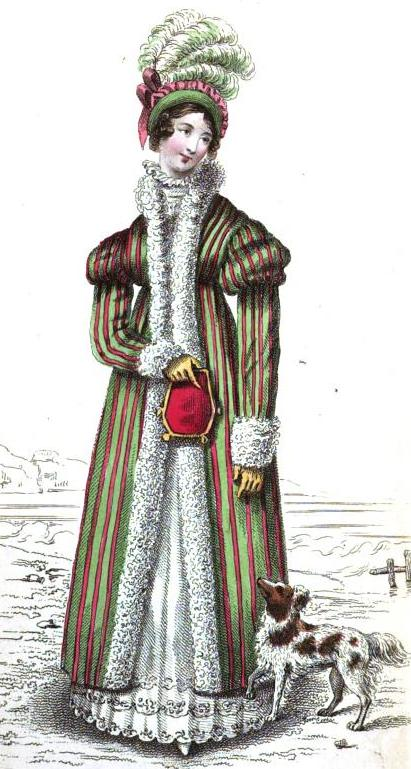 "The English Winter Carriage Costume, from the Magazine's March 1818 edition: ""round dress of fine cambric muslin, superbly embroidered round the border in three distinct rows. Pelisse of rich Tobine silk striped, of Christmas holly-berry colour, and bright grass green, trimmed round collar, cuffs and down the front with very broad swansdown."""