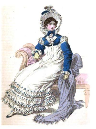 From the October 1818 issue of the Magazine--a round dress of fine cambric with muslin flounces richly embroidered in Clarence blue.  A Clarence bonnet trimmed with larkspur flowers and a Clarence spencer besides, with lapels of white satin.