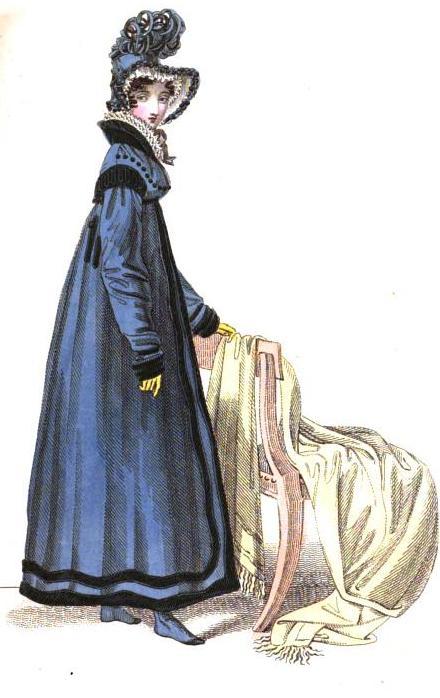 "English walking dress featured in La Belle Assemblee, October 1818: ""Garter purple poplin pelisse, ornamented with black velvet. Mary Scot bonnet and Waterloo half boots."