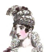 From the same issue of said Magazine--a detail of evening dress with white satin turban and pear-shaped pearl earrings.