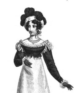 "The canezou is a type of spenser--this one is in black satin and part of a ""fancy mourning dinner dress."" From the December issue of La Belle Assemblée, 1818."
