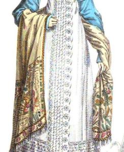 "Called by its French name ""cachemire"" in the Magazine, this draped shawl forms part of a walking dress ensemble. -- La Belle Assemblée, May, 1818"