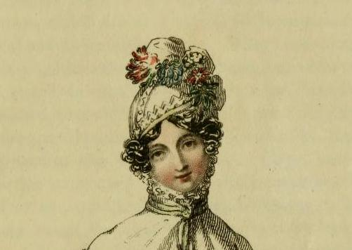 "Maria advises her sister that the cornette is in fashion: ""It is composed of the finest Mechlin lace and net; it is lined with soft blush-coloured satin, and fastened under the chin with a quilling of fine lace...the hair is entirely concealed, except a few ringlets that are made to sport around the face."" -- print from Ackerman's Repository, May 1818"