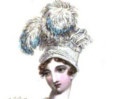 This toque is of the Pavilion style and part of an evening dress ensemble, appearing in the October, 1817 edition La Belle Assemblée; or, Bell's court and fashionable ... N.S. 15-16 (1817).