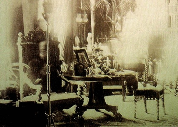 Viscount Combermere is thought to be sitting in his favorite chair in this photograph taken by his sister, during his funeral, while the house was empty