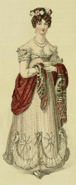 Featured in Ackerman's Repository, June 1 1819, the costume consists of a white satin slip covered with white transparent gauze to fashion a round morning dress, courtesy of Miss Pierpoint, Dressmaker, No. 9 Henrietta Street in Covent Garden.