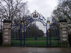 All that's left of Devonshire House--the gilt leopards on the gates
