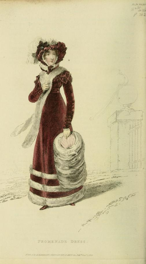 This mulberry-coloured promenade dress looked decidedly festive with epaulettes and sleeves fashioned to look like leaves. The skirt is edged in chinchilla, matching the large muff. From Ackerman's Repository of Arts, Vol. 14, 1822