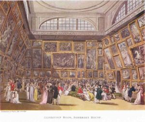 Exhibition room at Somerset House by Rowlandson and Pugin