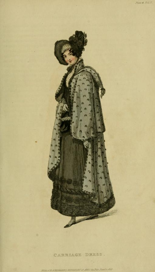 "This carriage dress, courtesy of Miss McDonald, no. 84 Wells-street,  is made of bombazine. The wrapping-cloak is Russian ""novel and striking."" The little purse, called a ridicule, is of black velvet."