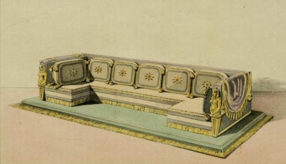 "The Ottomann couch, as it appears in the Magazine of July, 1814, volume XII showing ""great diversity of form and arrangement, and an unbounded variety of decoration."" For living the High Life"